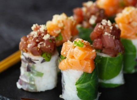 Truffle Salmon Blossom and Sesame Tuna with chopsticks | Blossom Saumon truffé et Thon sésame avec baguettes