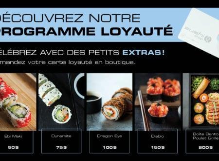Programme loyauté Sushi Shop incluant sushi ebi maki, Dynamite, Diablo, Boite Bento au poulet